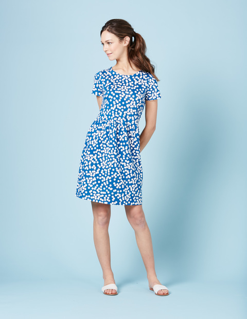 Pretty Jersey Dress Sapphire Blossom Women, Sapphire Blossom - pattern: polka dot; secondary colour: white; predominant colour: royal blue; occasions: casual; length: just above the knee; fit: fitted at waist & bust; style: fit & flare; fibres: cotton - mix; neckline: crew; sleeve length: short sleeve; sleeve style: standard; pattern type: fabric; texture group: jersey - stretchy/drapey; season: s/s 2016