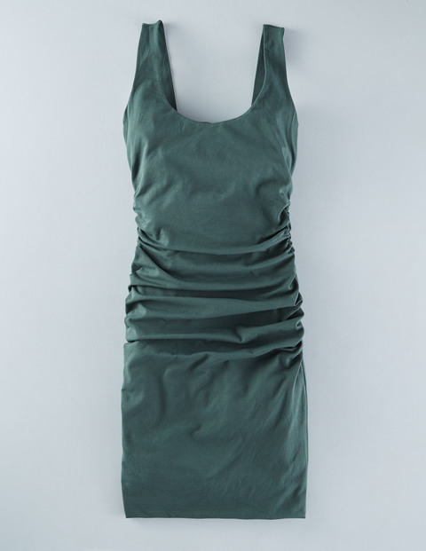 Scoop Neck Ruched Dress Beetle Green Women, Beetle Green - neckline: round neck; fit: tight; pattern: plain; sleeve style: sleeveless; style: bodycon; predominant colour: dark green; occasions: evening; length: just above the knee; fibres: cotton - stretch; sleeve length: sleeveless; texture group: jersey - clingy; pattern type: fabric; season: s/s 2016; wardrobe: event