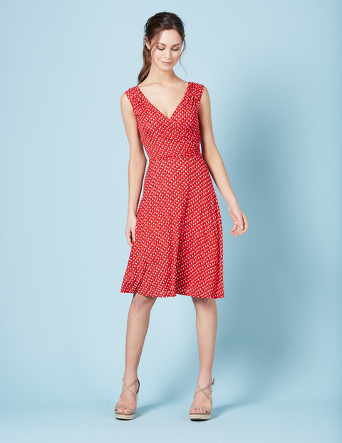 Georgia Jersey Dress Poppy Red Pop Spot Women, Poppy Red Pop Spot - neckline: low v-neck; sleeve style: sleeveless; pattern: polka dot; secondary colour: white; predominant colour: true red; length: on the knee; fit: fitted at waist & bust; style: fit & flare; fibres: viscose/rayon - stretch; occasions: occasion; hip detail: subtle/flattering hip detail; sleeve length: sleeveless; pattern type: fabric; pattern size: big & busy; texture group: jersey - stretchy/drapey; season: s/s 2016; wardrobe: event
