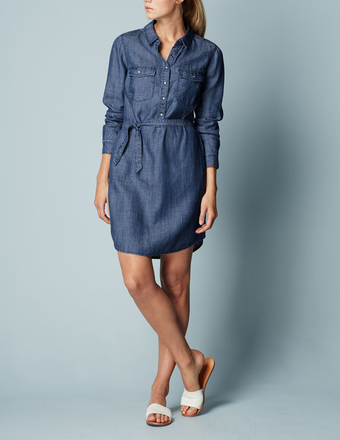 Popover Shirt Dress Vintage Women, Vintage - style: shirt; neckline: shirt collar/peter pan/zip with opening; fit: fitted at waist; pattern: plain; predominant colour: denim; occasions: casual, creative work; length: just above the knee; fibres: cotton - 100%; sleeve length: long sleeve; sleeve style: standard; texture group: denim; pattern type: fabric; season: s/s 2016; wardrobe: basic
