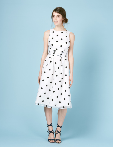 Violet Dress Navy Dot Women, Navy Dot - length: calf length; sleeve style: sleeveless; pattern: polka dot; predominant colour: white; secondary colour: black; occasions: evening; fit: fitted at waist & bust; style: fit & flare; fibres: silk - 100%; neckline: crew; sleeve length: sleeveless; trends: monochrome; texture group: sheer fabrics/chiffon/organza etc.; pattern type: fabric; multicoloured: multicoloured; season: s/s 2016; wardrobe: event