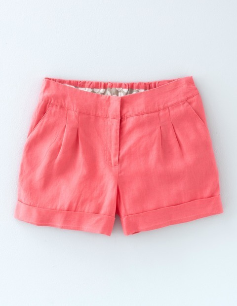 Lottie Linen Shorts Coral Reef Women, Coral Reef - pattern: plain; waist: mid/regular rise; predominant colour: coral; occasions: casual, holiday; fibres: cotton - 100%; waist detail: feature waist detail; texture group: cotton feel fabrics; pattern type: fabric; season: s/s 2016; style: shorts; length: short shorts; fit: slim leg; wardrobe: holiday