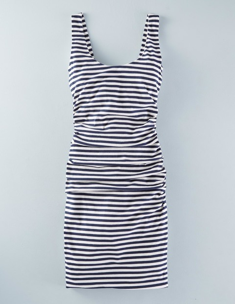 Scoop Neck Ruched Dress Navy/Ivory Stripe Women, Navy/Ivory Stripe - length: mid thigh; neckline: round neck; fit: tight; pattern: horizontal stripes; sleeve style: sleeveless; style: vest; secondary colour: white; predominant colour: navy; occasions: casual; fibres: cotton - stretch; sleeve length: sleeveless; texture group: jersey - clingy; pattern type: fabric; season: s/s 2016