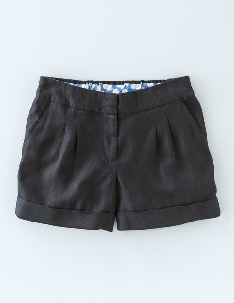 Lottie Linen Shorts Black Women, Black - pattern: plain; waist: mid/regular rise; predominant colour: black; occasions: casual, holiday; fibres: linen - 100%; texture group: linen; pattern type: fabric; season: s/s 2016; style: shorts; length: short shorts; fit: slim leg; wardrobe: holiday