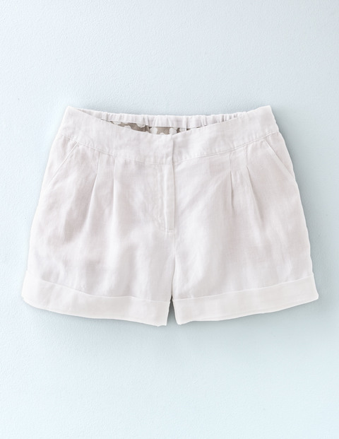 Lottie Linen Shorts White Women, White - pattern: plain; waist: mid/regular rise; predominant colour: white; occasions: casual, holiday; fibres: linen - 100%; texture group: linen; pattern type: fabric; season: s/s 2016; style: shorts; length: short shorts; fit: slim leg; wardrobe: holiday