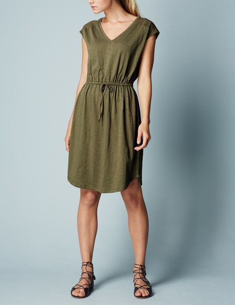 Mya Jersey Dress Kale Women, Kale - style: t-shirt; neckline: low v-neck; fit: loose; pattern: plain; waist detail: belted waist/tie at waist/drawstring; predominant colour: khaki; occasions: casual; length: just above the knee; fibres: cotton - stretch; sleeve length: short sleeve; sleeve style: standard; pattern type: fabric; texture group: jersey - stretchy/drapey; season: s/s 2016; wardrobe: basic