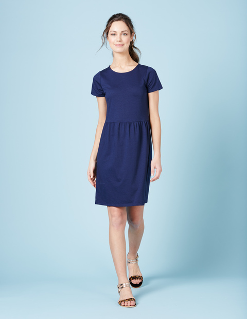 Pretty Jersey Dress Navy Women, Navy - pattern: plain; predominant colour: navy; occasions: casual; length: on the knee; fit: fitted at waist & bust; style: fit & flare; fibres: cotton - mix; neckline: crew; sleeve length: short sleeve; sleeve style: standard; pattern type: fabric; texture group: jersey - stretchy/drapey; season: s/s 2016; wardrobe: basic