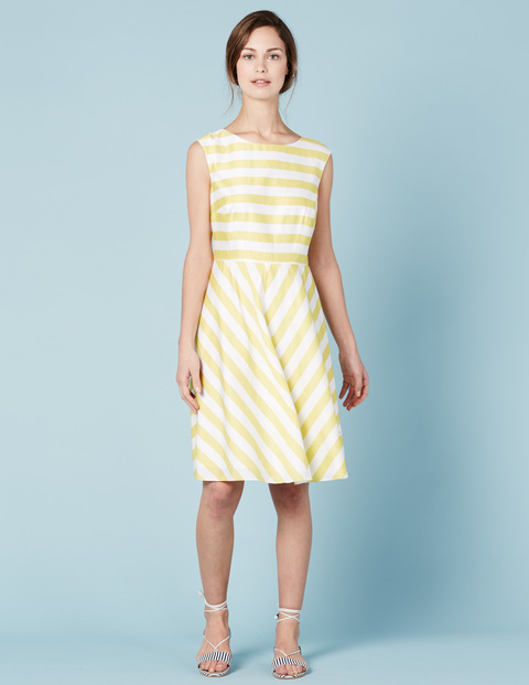Swishy Mara Dress Mimosa/Ivory Stripe Women, Mimosa/Ivory Stripe - sleeve style: sleeveless; pattern: striped; predominant colour: white; secondary colour: primrose yellow; occasions: evening; length: on the knee; fit: fitted at waist & bust; style: fit & flare; fibres: cotton - 100%; neckline: crew; sleeve length: sleeveless; texture group: cotton feel fabrics; pattern type: fabric; multicoloured: multicoloured; season: s/s 2016; wardrobe: event