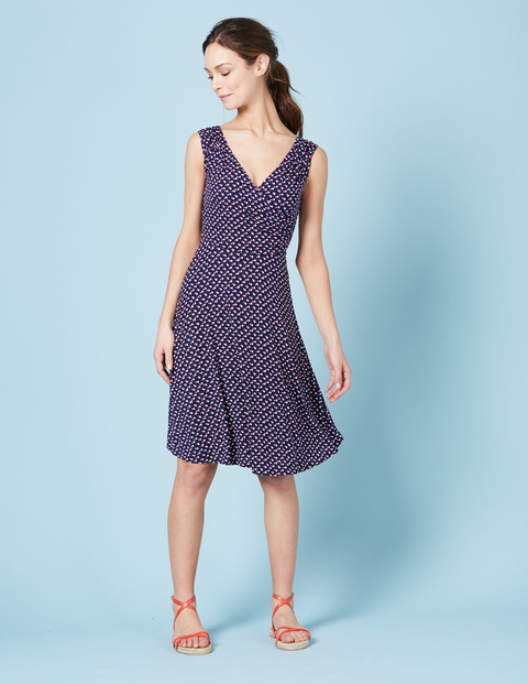 Georgia Jersey Dress Navy Pop Spot Women, Navy Pop Spot - style: faux wrap/wrap; neckline: v-neck; sleeve style: sleeveless; predominant colour: navy; occasions: evening; length: on the knee; fit: body skimming; fibres: viscose/rayon - stretch; sleeve length: sleeveless; pattern type: fabric; pattern: patterned/print; texture group: jersey - stretchy/drapey; season: s/s 2016; wardrobe: event