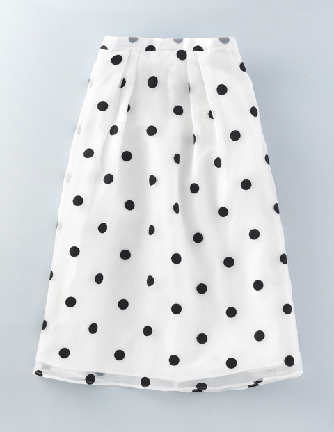 Violet Skirt Ivory With Navy Spot Women, Ivory With Navy Spot - fit: loose/voluminous; waist: high rise; pattern: polka dot; predominant colour: ivory/cream; secondary colour: black; occasions: casual, creative work; length: on the knee; style: a-line; fibres: silk - 100%; texture group: sheer fabrics/chiffon/organza etc.; pattern type: fabric; season: s/s 2016; wardrobe: highlight