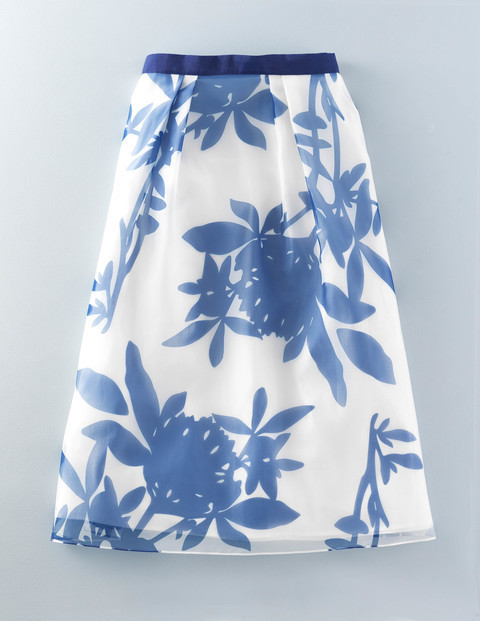Violet Skirt Floral Print Women, Floral Print - style: full/prom skirt; fit: loose/voluminous; waist: high rise; secondary colour: white; predominant colour: denim; length: just above the knee; fibres: cotton - mix; occasions: occasion, creative work; waist detail: narrow waistband; pattern type: fabric; pattern: florals; texture group: woven light midweight; pattern size: big & busy (bottom); season: s/s 2016
