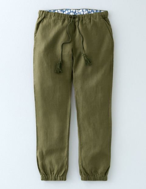 Lottie Linen Tassel Trouser Kale Women, Kale - length: standard; pattern: plain; style: harem/slouch; waist detail: belted waist/tie at waist/drawstring; waist: mid/regular rise; predominant colour: khaki; occasions: casual; fibres: linen - 100%; texture group: linen; fit: baggy; pattern type: fabric; season: s/s 2016; wardrobe: highlight