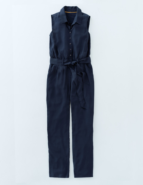 Rebecca Jumpsuit Navy Women, Navy - length: standard; neckline: shirt collar/peter pan/zip with opening; pattern: plain; sleeve style: sleeveless; waist detail: belted waist/tie at waist/drawstring; predominant colour: navy; occasions: casual; fit: body skimming; fibres: viscose/rayon - 100%; sleeve length: sleeveless; style: jumpsuit; pattern type: fabric; texture group: other - light to midweight; season: s/s 2016; wardrobe: highlight