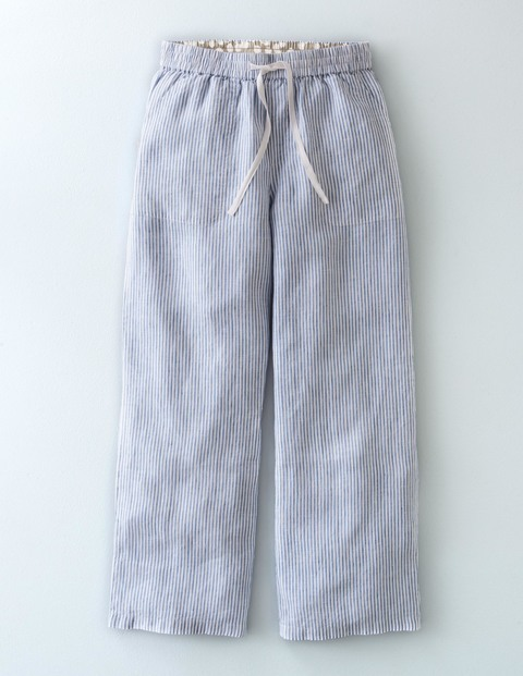 Lottie Linen Crop Trouser Stripe Women, Stripe - length: standard; pattern: plain; waist detail: belted waist/tie at waist/drawstring; waist: mid/regular rise; predominant colour: denim; occasions: casual; fibres: linen - 100%; texture group: linen; fit: straight leg; pattern type: fabric; style: standard; season: s/s 2016; wardrobe: highlight
