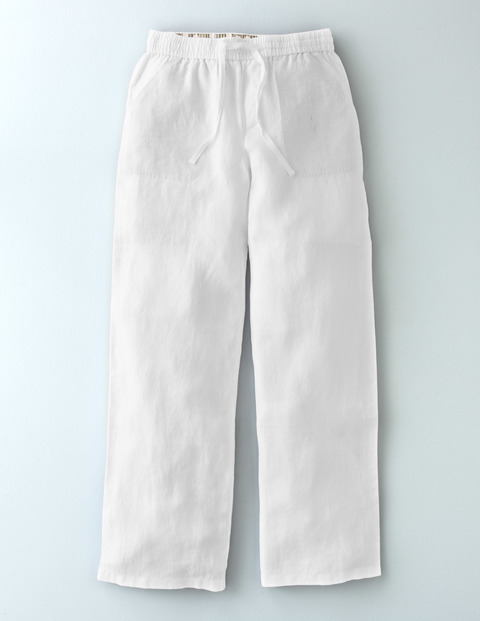 Lottie Linen Trouser White Women, White - length: standard; pattern: plain; waist: high rise; waist detail: belted waist/tie at waist/drawstring; predominant colour: white; occasions: casual, holiday; fibres: linen - 100%; texture group: linen; fit: wide leg; pattern type: fabric; style: standard; season: s/s 2016; wardrobe: basic