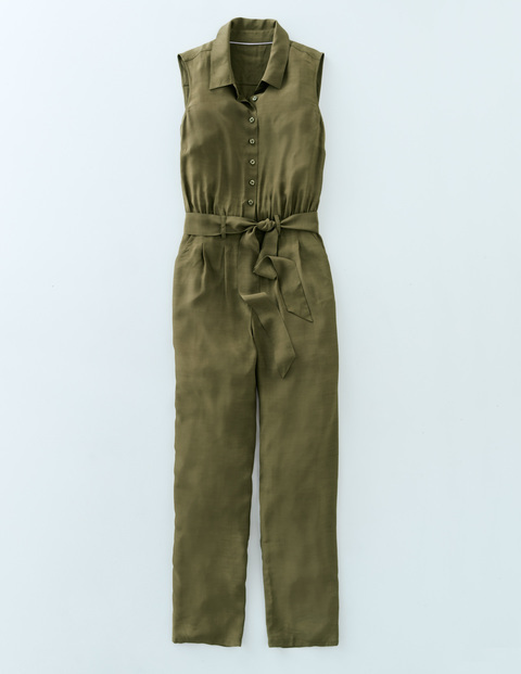 Rebecca Jumpsuit Kale Women, Kale - length: standard; neckline: shirt collar/peter pan/zip with opening; fit: fitted at waist; pattern: plain; sleeve style: sleeveless; waist detail: belted waist/tie at waist/drawstring; predominant colour: khaki; occasions: casual, creative work; fibres: viscose/rayon - 100%; sleeve length: sleeveless; style: jumpsuit; pattern type: fabric; texture group: other - light to midweight; season: s/s 2016; wardrobe: highlight