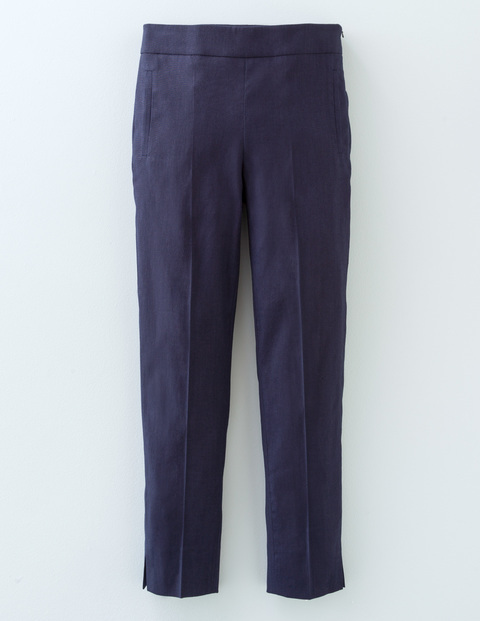 Florence Trouser Navy Women, Navy - length: standard; pattern: plain; waist: mid/regular rise; predominant colour: navy; occasions: casual, creative work; fibres: cotton - stretch; waist detail: feature waist detail; texture group: cotton feel fabrics; fit: slim leg; pattern type: fabric; style: standard; pattern size: standard (bottom); season: s/s 2016; wardrobe: basic