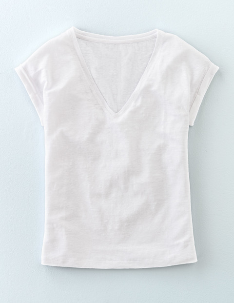 V Neck Linen Tee White Women, White - neckline: low v-neck; sleeve style: capped; pattern: plain; style: t-shirt; predominant colour: white; occasions: casual, holiday; length: standard; fibres: linen - mix; fit: body skimming; sleeve length: short sleeve; texture group: jersey - clingy; pattern type: fabric; season: s/s 2016; wardrobe: basic