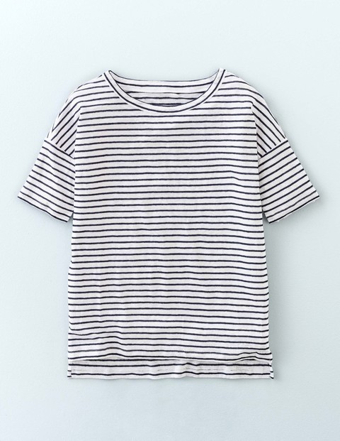 Relaxed Linen Tee Navy/White Women, Navy/White - pattern: horizontal stripes; style: t-shirt; secondary colour: white; predominant colour: navy; occasions: casual; length: standard; fibres: linen - 100%; fit: body skimming; neckline: crew; sleeve length: short sleeve; sleeve style: standard; pattern type: fabric; texture group: jersey - stretchy/drapey; season: s/s 2016; wardrobe: basic