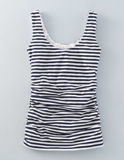 Ruched Scoop Neck Vest Navy/Ivory Stripe Women, Navy/Ivory Stripe - neckline: round neck; pattern: horizontal stripes; sleeve style: sleeveless; style: vest top; predominant colour: navy; secondary colour: navy; occasions: casual; length: standard; fibres: cotton - stretch; fit: tight; sleeve length: sleeveless; texture group: jersey - clingy; pattern type: fabric; season: s/s 2016; wardrobe: basic