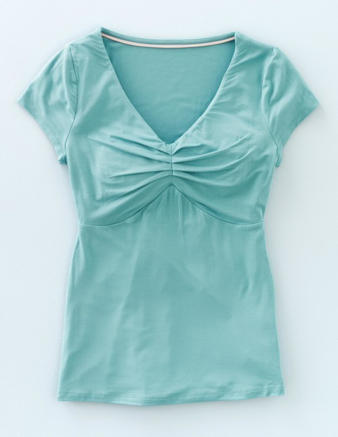 Cora Top Oxygen Women, Oxygen - neckline: v-neck; sleeve style: capped; pattern: plain; bust detail: ruching/gathering/draping/layers/pintuck pleats at bust; predominant colour: turquoise; occasions: casual; length: standard; style: top; fibres: cotton - 100%; fit: body skimming; sleeve length: short sleeve; pattern type: fabric; texture group: jersey - stretchy/drapey; season: s/s 2016; wardrobe: highlight