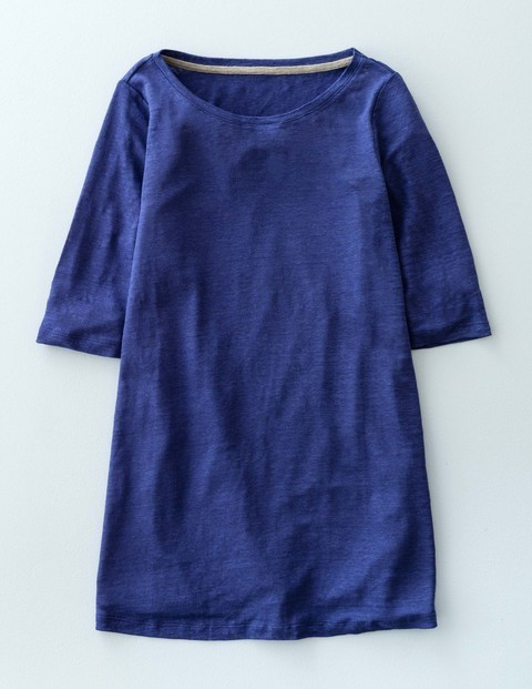Swing Linen Top Inkwell Women, Inkwell - neckline: round neck; pattern: plain; length: below the bottom; predominant colour: royal blue; occasions: casual; style: top; fibres: linen - 100%; fit: body skimming; sleeve length: half sleeve; sleeve style: standard; texture group: linen; pattern type: fabric; season: s/s 2016; wardrobe: highlight