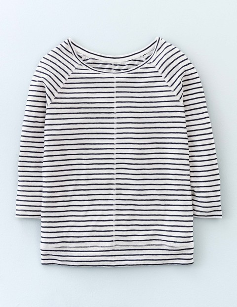 Baseball Linen Tee Navy/White Women, Navy/White - neckline: round neck; sleeve style: raglan; pattern: horizontal stripes; style: t-shirt; secondary colour: white; predominant colour: navy; occasions: casual, creative work; length: standard; fibres: linen - 100%; fit: straight cut; sleeve length: 3/4 length; texture group: linen; pattern type: fabric; pattern size: standard; season: s/s 2016; wardrobe: basic