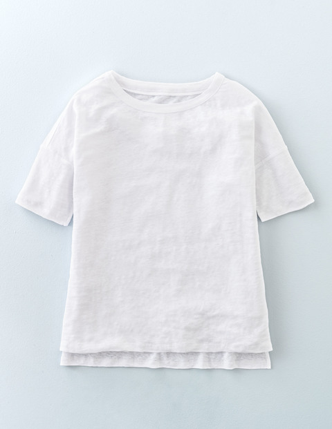 Relaxed Linen Tee White Women, White - neckline: round neck; pattern: plain; style: t-shirt; predominant colour: white; occasions: casual; length: standard; fibres: linen - 100%; fit: body skimming; sleeve length: short sleeve; sleeve style: standard; texture group: linen; pattern type: fabric; season: s/s 2016; wardrobe: basic