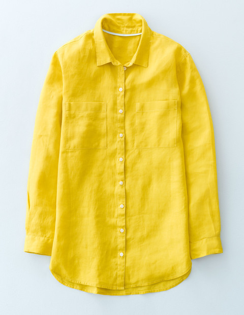 The Longer Length Linen Shirt Mimosa Yellow Women, Mimosa Yellow - neckline: shirt collar/peter pan/zip with opening; pattern: plain; style: shirt; predominant colour: yellow; occasions: casual, creative work; length: standard; fibres: linen - 100%; fit: body skimming; sleeve length: long sleeve; sleeve style: standard; texture group: linen; pattern type: fabric; season: s/s 2016; wardrobe: highlight