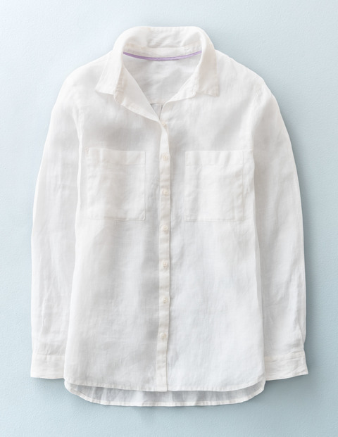 The Linen Shirt White Women, White - neckline: shirt collar/peter pan/zip with opening; pattern: plain; style: shirt; predominant colour: white; occasions: casual; length: standard; fibres: linen - 100%; fit: straight cut; sleeve length: long sleeve; sleeve style: standard; texture group: linen; pattern type: fabric; season: s/s 2016; wardrobe: basic