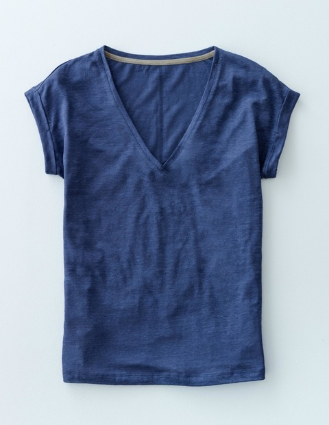 V Neck Linen Tee Inkwell Women, Inkwell - neckline: v-neck; pattern: plain; style: t-shirt; predominant colour: royal blue; occasions: casual; length: standard; fibres: linen - 100%; fit: body skimming; sleeve length: short sleeve; sleeve style: standard; pattern type: fabric; texture group: jersey - stretchy/drapey; season: s/s 2016; wardrobe: highlight