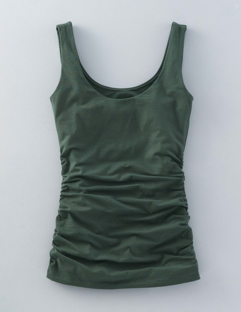 Ruched Scoop Neck Vest Beetle Green Women, Beetle Green - sleeve style: standard vest straps/shoulder straps; pattern: plain; style: vest top; predominant colour: dark green; occasions: casual; length: standard; neckline: scoop; fibres: cotton - stretch; fit: body skimming; sleeve length: sleeveless; pattern type: fabric; texture group: jersey - stretchy/drapey; season: s/s 2016; wardrobe: highlight