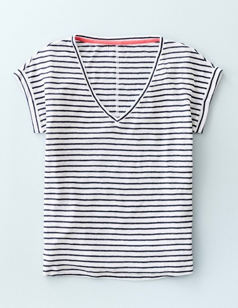 V Neck Linen Tee Navy/White Women, Navy/White - neckline: v-neck; pattern: horizontal stripes; style: t-shirt; predominant colour: white; secondary colour: navy; occasions: casual; length: standard; fibres: linen - 100%; fit: body skimming; sleeve length: short sleeve; sleeve style: standard; pattern type: fabric; pattern size: standard; texture group: jersey - stretchy/drapey; multicoloured: multicoloured; season: s/s 2016; wardrobe: basic