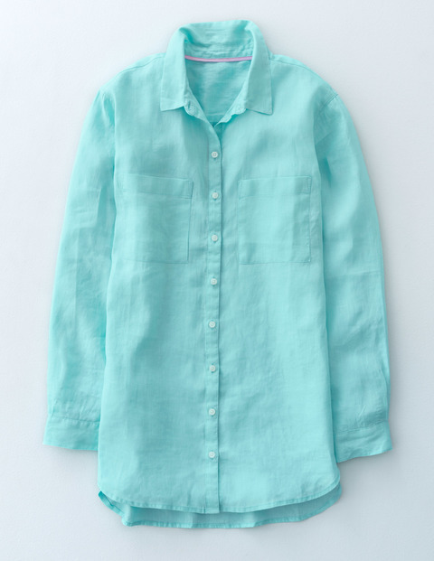 The Longer Length Linen Shirt Aqua Sky Women, Aqua Sky - neckline: shirt collar/peter pan/zip with opening; pattern: plain; style: shirt; predominant colour: turquoise; occasions: casual, creative work; length: standard; fibres: linen - 100%; fit: body skimming; sleeve length: long sleeve; sleeve style: standard; texture group: linen; pattern type: fabric; season: s/s 2016; wardrobe: highlight