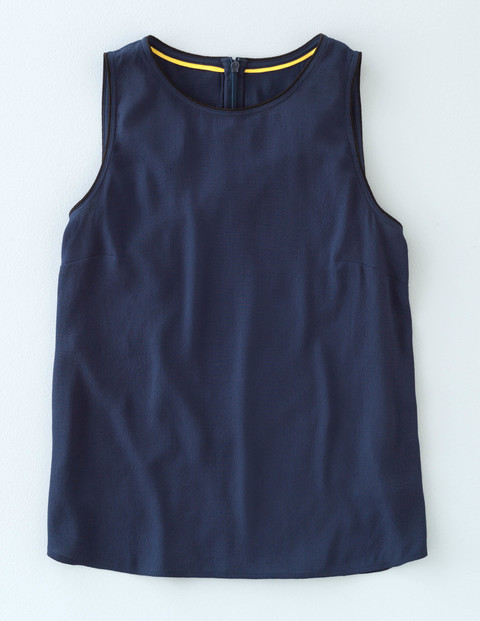 Shell Top Navy Women, Navy - neckline: round neck; pattern: plain; sleeve style: sleeveless; style: vest top; predominant colour: navy; occasions: casual; length: standard; fibres: viscose/rayon - 100%; fit: body skimming; sleeve length: sleeveless; pattern type: fabric; texture group: jersey - stretchy/drapey; season: s/s 2016; wardrobe: basic