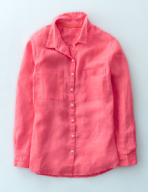 The Linen Shirt Coral Reef Women, Coral Reef - neckline: shirt collar/peter pan/zip with opening; pattern: plain; style: shirt; predominant colour: pink; occasions: casual; length: standard; fibres: linen - 100%; fit: body skimming; sleeve length: long sleeve; sleeve style: standard; texture group: linen; pattern type: fabric; season: s/s 2016; wardrobe: highlight