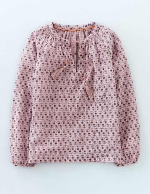 Gauzy Boho Top Chalk Daisy Women, Chalk Daisy - style: blouse; predominant colour: blush; secondary colour: burgundy; occasions: casual; length: standard; fibres: cotton - 100%; fit: straight cut; neckline: crew; sleeve length: 3/4 length; sleeve style: standard; texture group: cotton feel fabrics; pattern type: fabric; pattern: patterned/print; season: s/s 2016; wardrobe: highlight