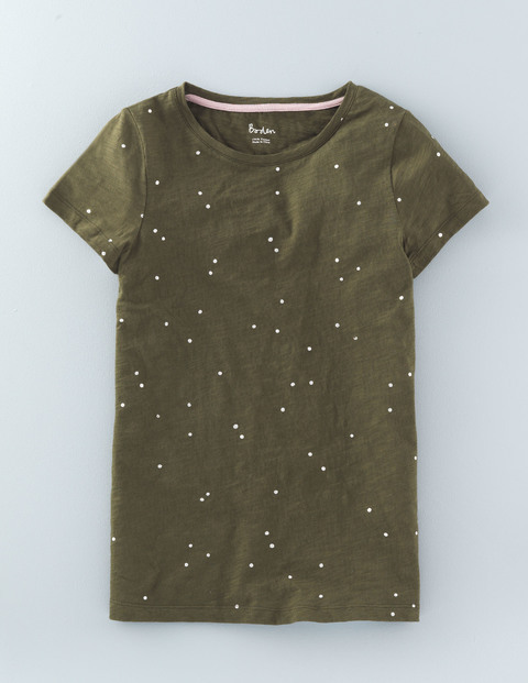 Foil Print Tee Kale Scattered Spot Women, Kale Scattered Spot - sleeve style: capped; style: t-shirt; pattern: polka dot; predominant colour: khaki; occasions: casual; length: standard; fibres: cotton - stretch; fit: body skimming; neckline: crew; sleeve length: half sleeve; texture group: jersey - clingy; pattern type: fabric; pattern size: light/subtle; season: s/s 2016