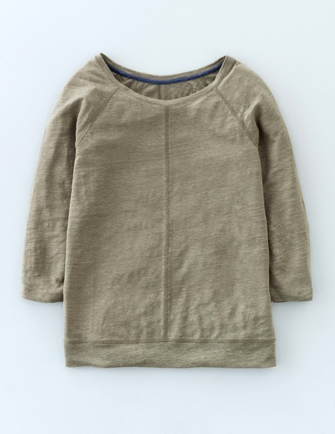 Baseball Linen Tee Khaki Green Women, Khaki Green - neckline: round neck; pattern: plain; predominant colour: khaki; occasions: casual; length: standard; style: top; fibres: linen - 100%; fit: body skimming; sleeve length: long sleeve; sleeve style: standard; pattern type: fabric; texture group: jersey - stretchy/drapey; season: s/s 2016; wardrobe: basic