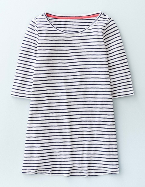Swing Linen Top Navy/White Women, Navy/White - pattern: horizontal stripes; style: t-shirt; predominant colour: navy; secondary colour: navy; occasions: casual; length: standard; neckline: scoop; fibres: cotton - stretch; fit: body skimming; sleeve length: half sleeve; sleeve style: standard; texture group: jersey - clingy; pattern type: fabric; season: s/s 2016; wardrobe: basic