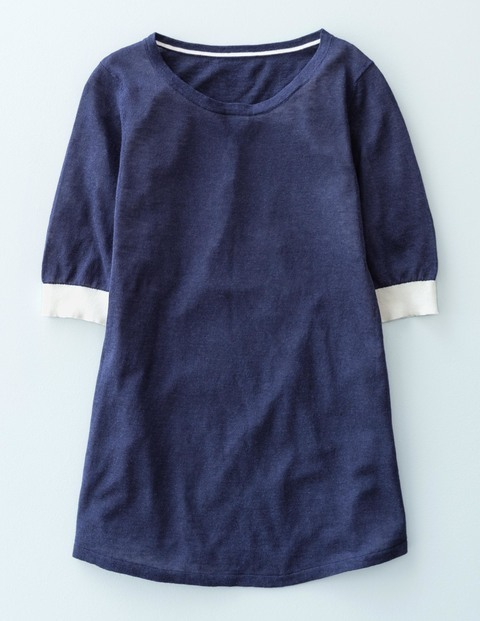 Knitted Swing Top Navy Women, Navy - neckline: round neck; pattern: plain; length: below the bottom; secondary colour: white; predominant colour: navy; occasions: casual; style: top; fibres: linen - mix; fit: body skimming; sleeve length: half sleeve; sleeve style: standard; pattern type: fabric; texture group: jersey - stretchy/drapey; season: s/s 2016; wardrobe: basic
