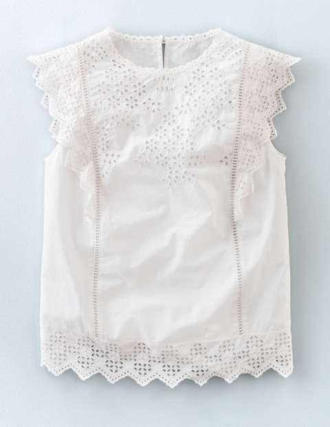 Broderie Top White Women, White - pattern: plain; sleeve style: sleeveless; predominant colour: white; occasions: casual; length: standard; style: top; fibres: cotton - 100%; fit: body skimming; neckline: crew; sleeve length: sleeveless; pattern type: fabric; texture group: broiderie anglais; season: s/s 2016; wardrobe: highlight