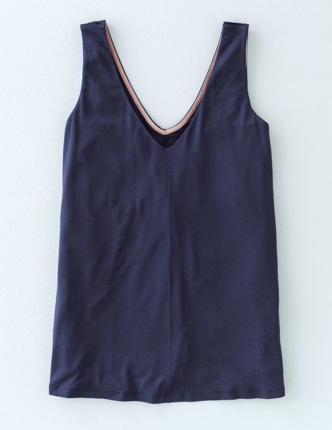 Emilia Vest Navy Women, Navy - neckline: low v-neck; pattern: plain; sleeve style: sleeveless; style: vest top; predominant colour: navy; occasions: casual, holiday; length: standard; fibres: cotton - 100%; fit: straight cut; sleeve length: sleeveless; pattern type: fabric; texture group: jersey - stretchy/drapey; season: s/s 2016; wardrobe: basic