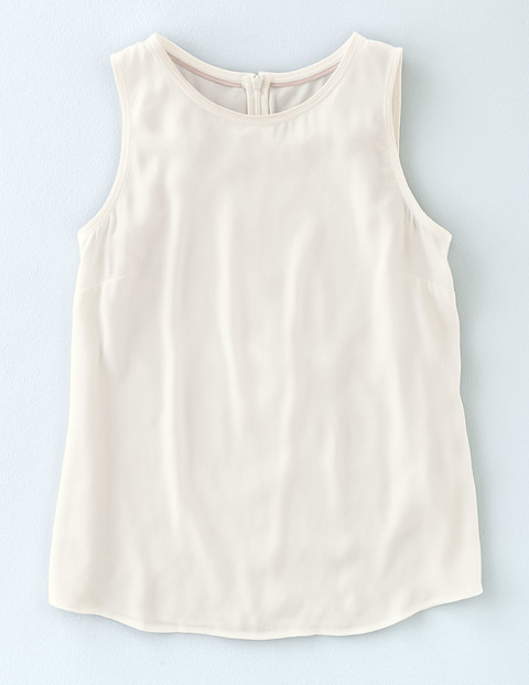 Shell Top Ivory Women, Ivory - neckline: round neck; pattern: plain; sleeve style: sleeveless; predominant colour: ivory/cream; occasions: casual, creative work; length: standard; style: top; fibres: cotton - 100%; fit: body skimming; sleeve length: sleeveless; pattern type: fabric; texture group: jersey - stretchy/drapey; season: s/s 2016