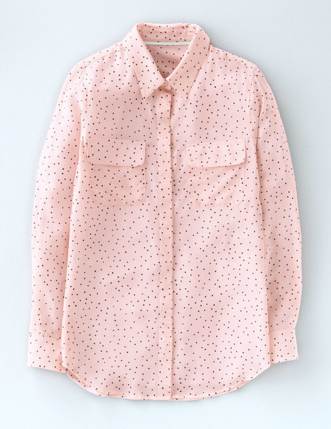 Silk Shirt Pink Scattered Spot Women, Pink Scattered Spot - neckline: shirt collar/peter pan/zip with opening; style: shirt; pattern: polka dot; predominant colour: blush; occasions: casual, creative work; length: standard; fibres: silk - 100%; fit: body skimming; sleeve length: long sleeve; sleeve style: standard; texture group: silky - light; pattern type: fabric; pattern size: standard; season: s/s 2016; wardrobe: highlight