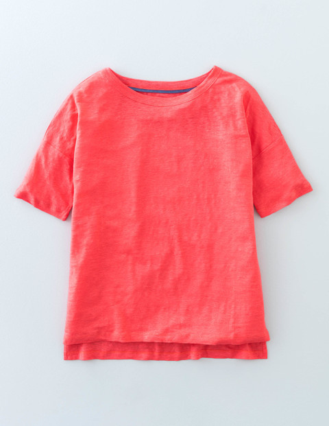 Relaxed Linen Tee Coral Reef Women, Coral Reef - neckline: round neck; pattern: plain; style: t-shirt; predominant colour: coral; occasions: casual, creative work; length: standard; fibres: linen - 100%; fit: straight cut; sleeve length: short sleeve; sleeve style: standard; texture group: cotton feel fabrics; pattern type: fabric; season: s/s 2016; wardrobe: highlight