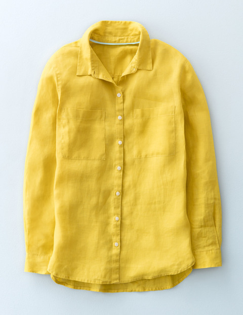 The Linen Shirt Mimosa Yellow Women, Mimosa Yellow - neckline: shirt collar/peter pan/zip with opening; pattern: plain; style: shirt; predominant colour: yellow; occasions: casual; length: standard; fibres: linen - 100%; fit: body skimming; sleeve length: long sleeve; sleeve style: standard; texture group: linen; pattern type: fabric; season: s/s 2016; wardrobe: highlight