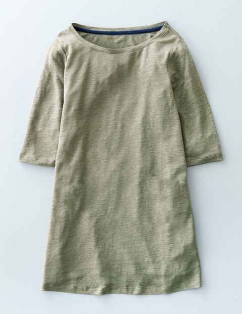 Swing Linen Top Khaki Green Women, Khaki Green - neckline: round neck; pattern: plain; length: below the bottom; predominant colour: khaki; occasions: casual; style: top; fibres: linen - 100%; fit: body skimming; sleeve length: 3/4 length; sleeve style: standard; texture group: linen; pattern type: fabric; season: s/s 2016