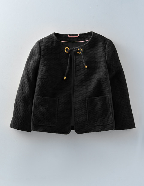 Chepstow Jacket Black Women, Black - pattern: plain; collar: round collar/collarless; style: boxy; predominant colour: black; occasions: casual, creative work; length: standard; fit: straight cut (boxy); fibres: cotton - 100%; sleeve length: 3/4 length; sleeve style: standard; collar break: high; pattern type: fabric; texture group: woven light midweight; season: s/s 2016; wardrobe: basic