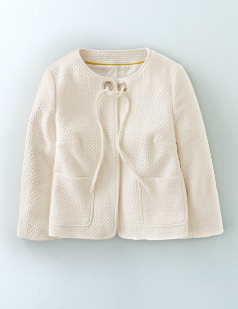 Chepstow Jacket Ivory Women, Ivory - pattern: plain; style: single breasted blazer; collar: round collar/collarless; predominant colour: ivory/cream; length: standard; fit: straight cut (boxy); fibres: cotton - 100%; sleeve length: 3/4 length; sleeve style: standard; collar break: high; pattern type: fabric; texture group: woven light midweight; occasions: creative work; season: s/s 2016
